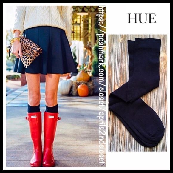 HUE Accessories - HUE KNEE HIGH NAVY BLUE TALL KNIT BOOT SOCKS A2C